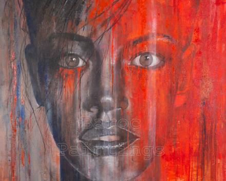 Flaming fortune - 120 x 120 - acryl on canvas - prijs op aanvraag