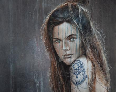 Girl with blue tattoo 2 - 70 x 70 - acryl on canvas - prijs op aanvraag