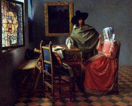 Het glas wijn, 65 x 77, Johannes Vermeer