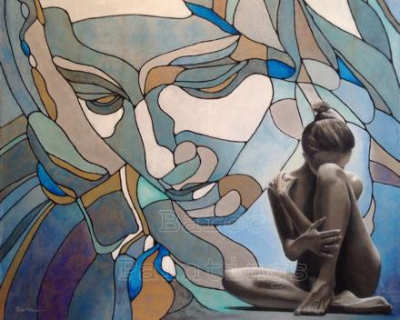 Piëta looking down on girl - 90 x 90 - acryl op canvas - prijs op aanvraag