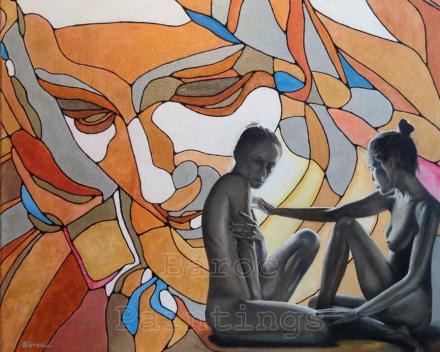 Piëta looking down on two girls - 90 x 90 - acryl op canvas - prijs op aanvraag