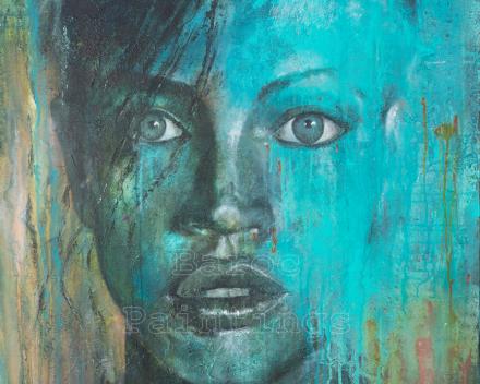 Turquoise bath - 90 x 90 - acryl on canvas - prijs op aanvraag
