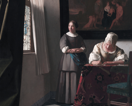 Schrijvende vrouw met dienstbode - 71,1 x 58,4 -  Johannes Vermeer